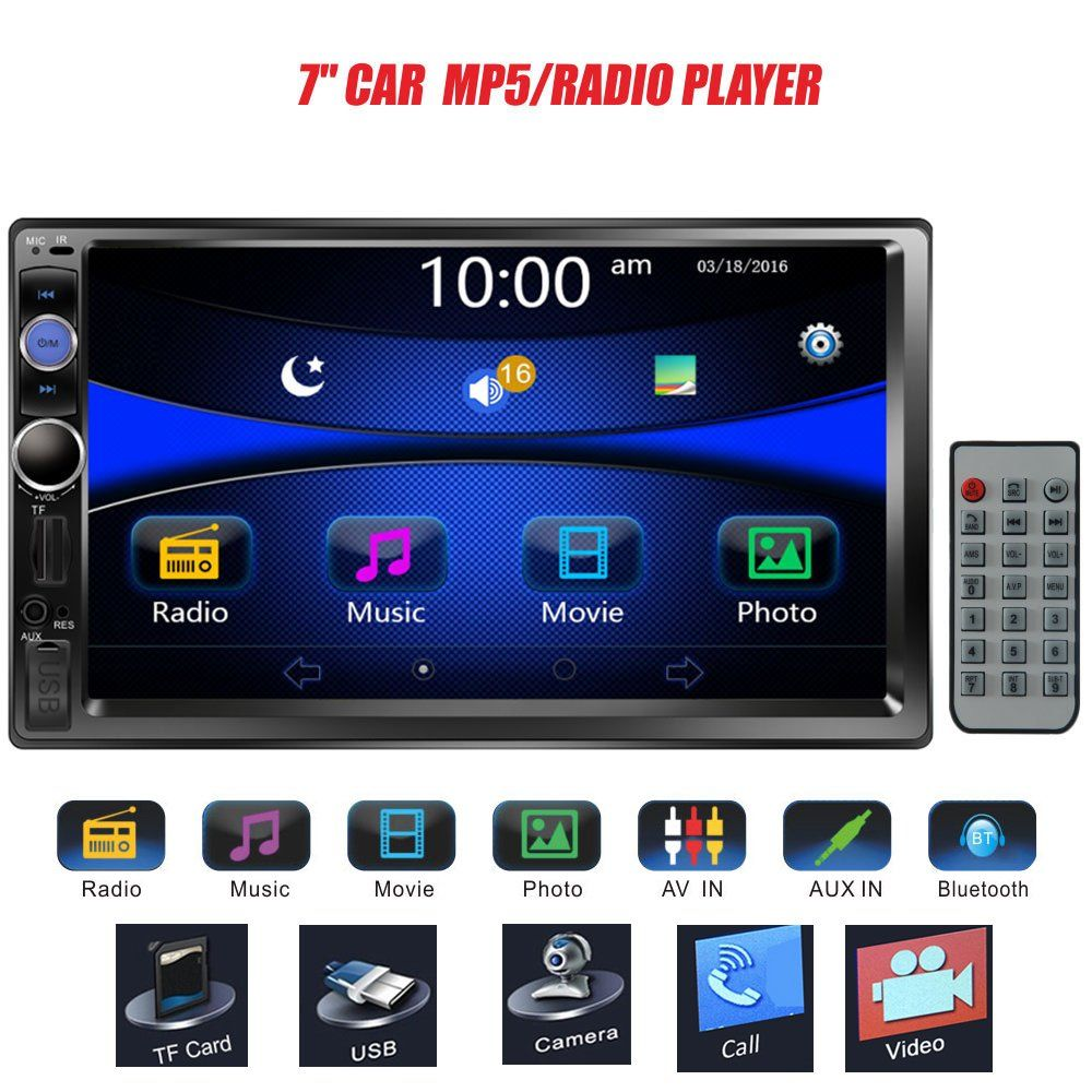 "Double 2 Din 7/"" Car MP5 MP3 Player Stereo Radio FM BT USB TF AUX IN Touch Screen"