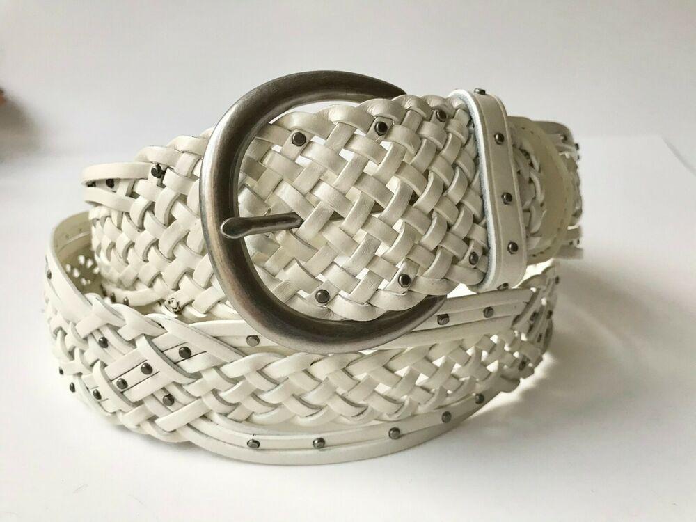 Vintage Womens Esprit Boho Chic White Riveted Leather Belt Size Large L
