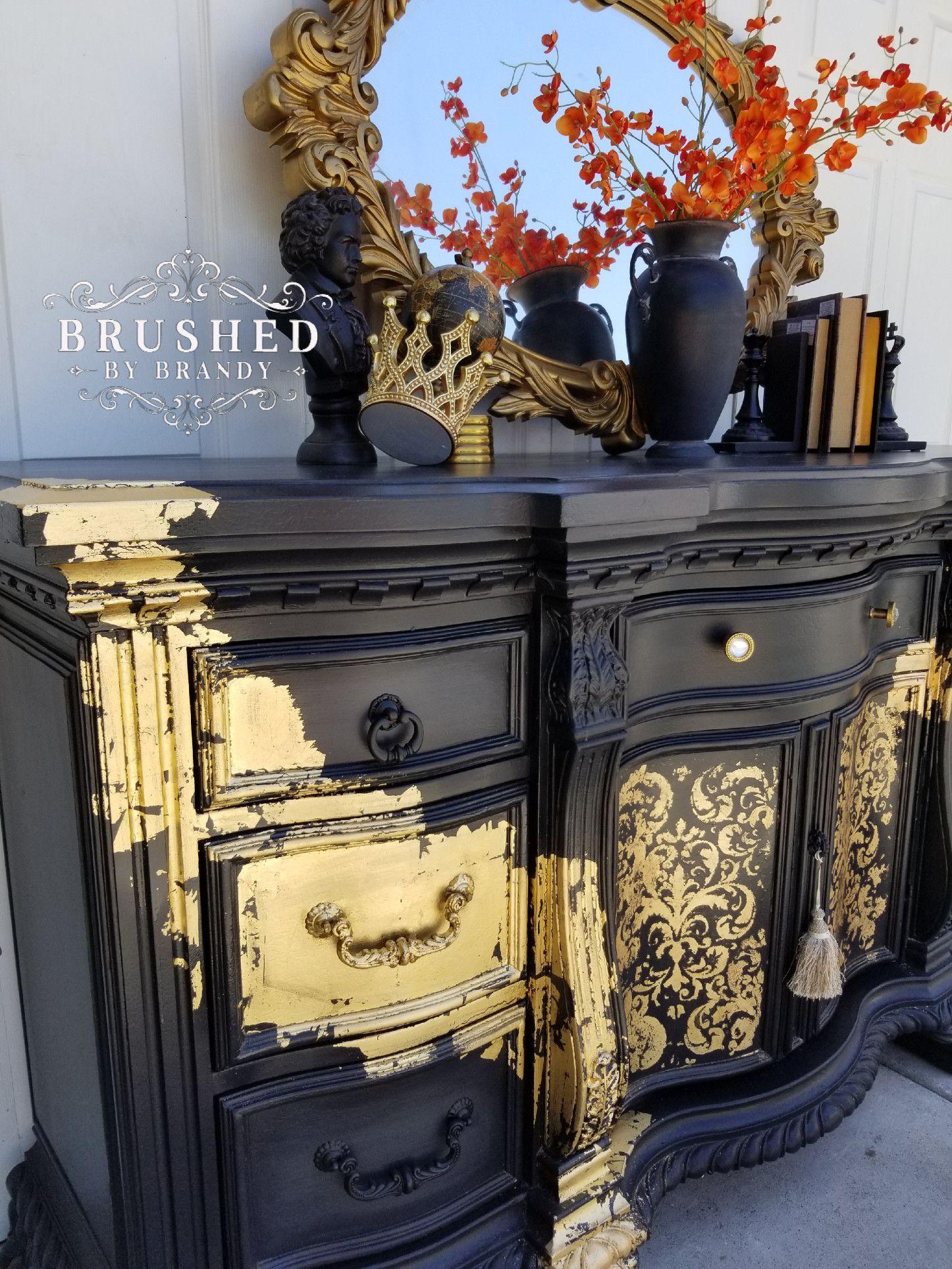 Bold Gold Leaf Sideboard Gold Leaf Furniture Gold Painted