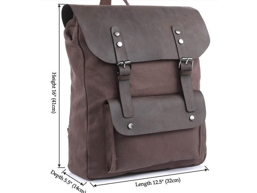 1fe237bda4 Vintage Casual Canvas Leather Travel Student Backpack  canvasbackpack   canvasleatherbag