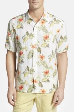 'Frond Farewell Breezer' Original Fit Floral Print Camp Shirt