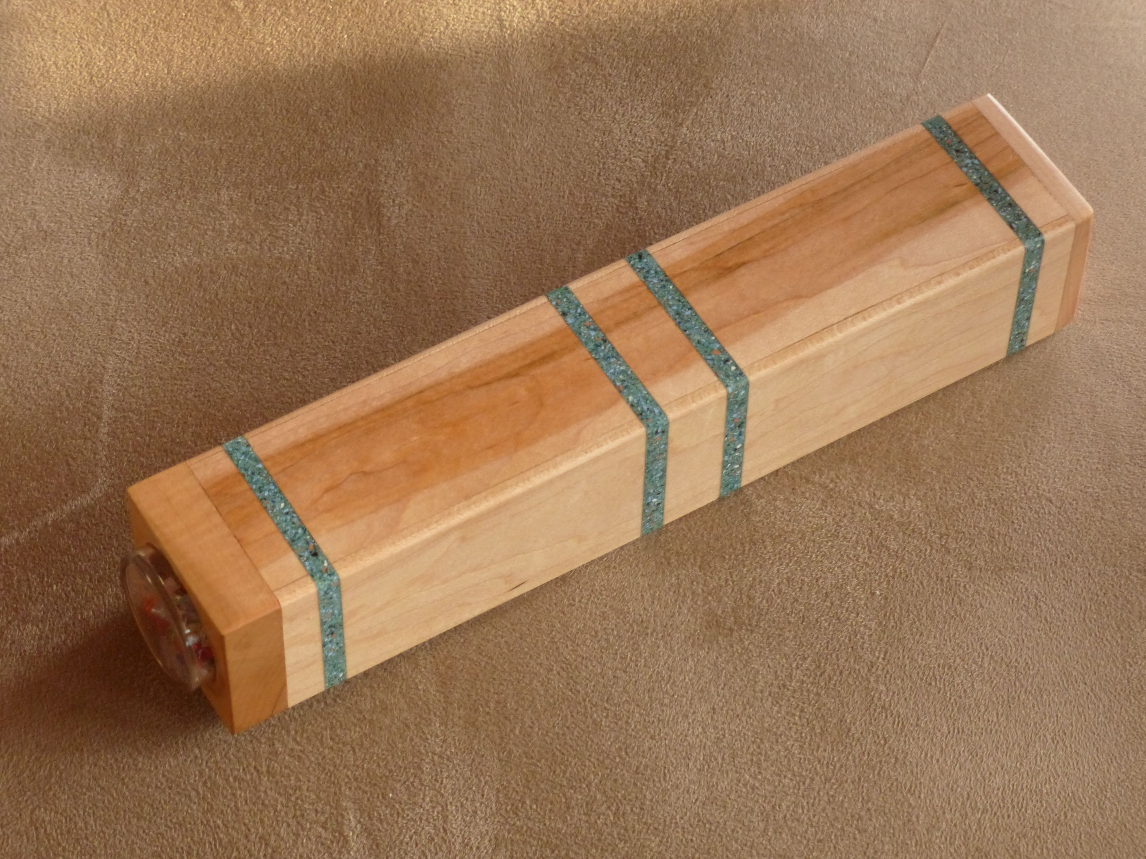 Kaleidoscope from red oak with turquoise made by Dennis Erhart