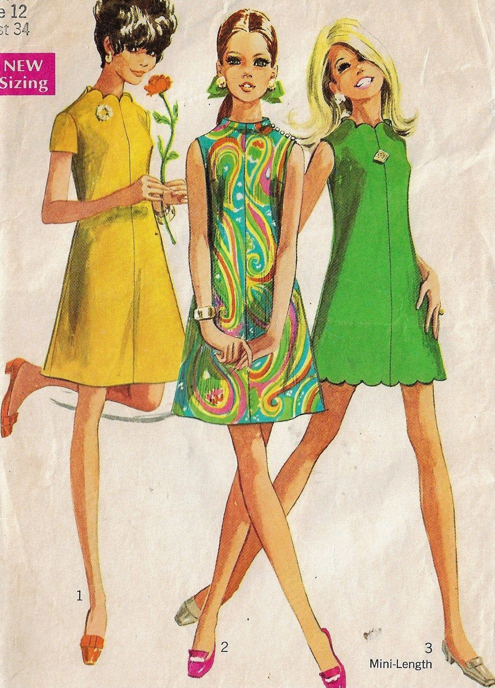 1960s Simplicity Sewing Pattern 7635 Womens A Line Dress Funnel Neckline Scalloped Or Plain Size 12 Bust 34 Simplicity Sewing Patterns Sewing Patterns A Line Dress