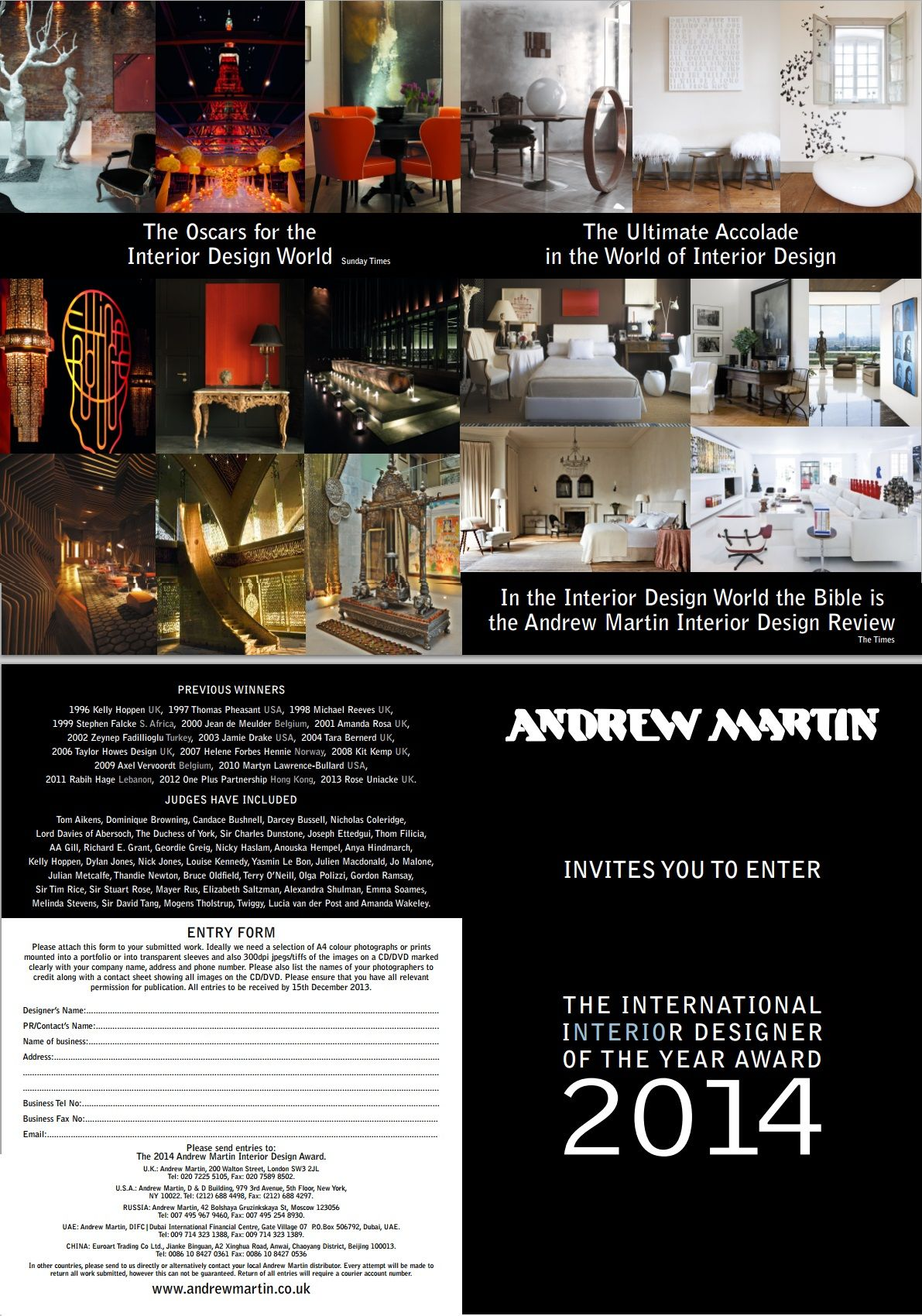 Entry form for Interior National Designer of the Year 2014 in the