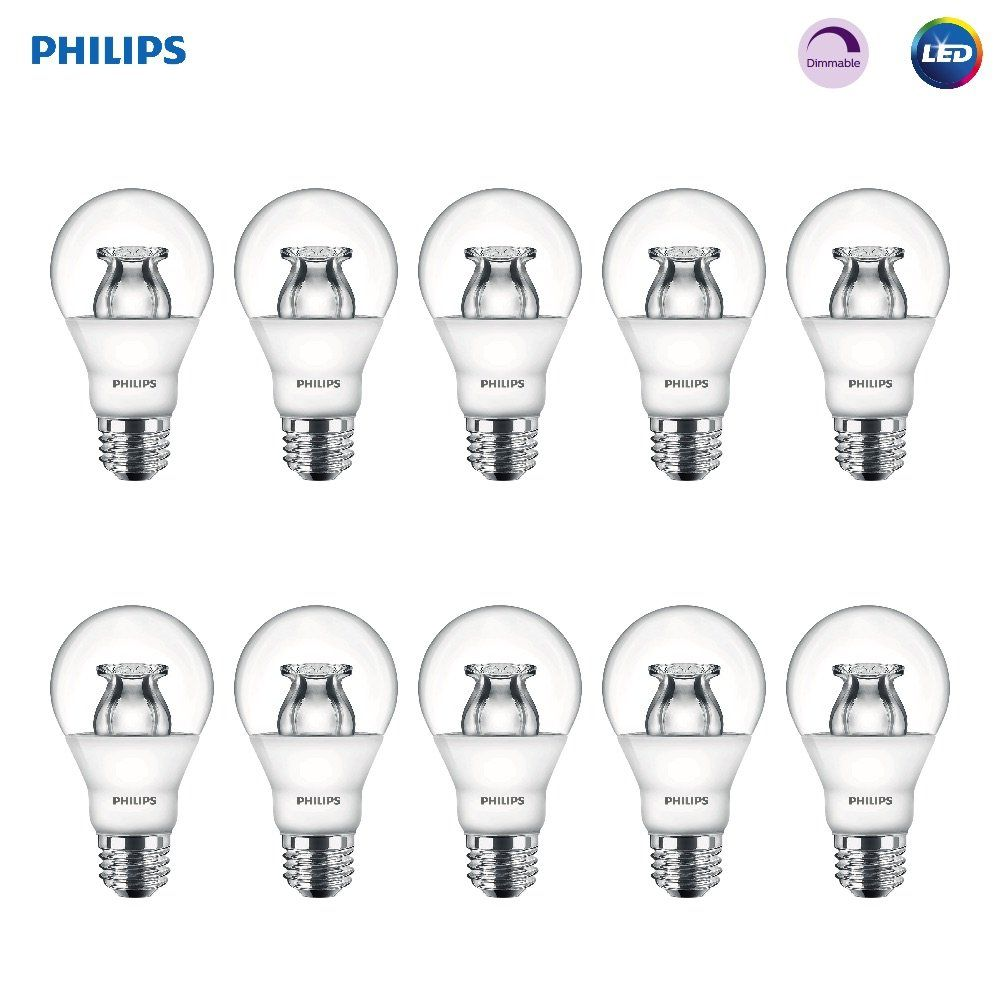 Philips Led Dimmable A19 Soft White Light Bulb With Warm Glow Effect 480 Lumen 2700 2200 Kelvin 6 Watt 40 Watt Equiv In 2020 White Light Bulbs Philips Led Led Bulb