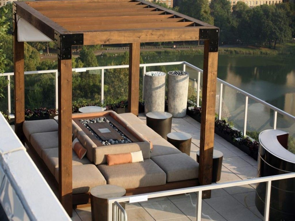 luxurious modern rooftop garden plans with open spa decoration combined wooden shelters pergola also comfy seats - Open Garden Decor