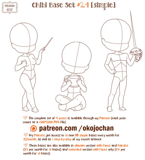 Chibi Pose Reference Simple Chibi Base Set 24 By Nukababe Chibi Body Chibi Pose Reference