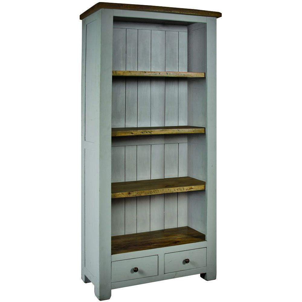 Wooden Bookcase 4 Shelves 2 Drawers Grey Colour Storage Living