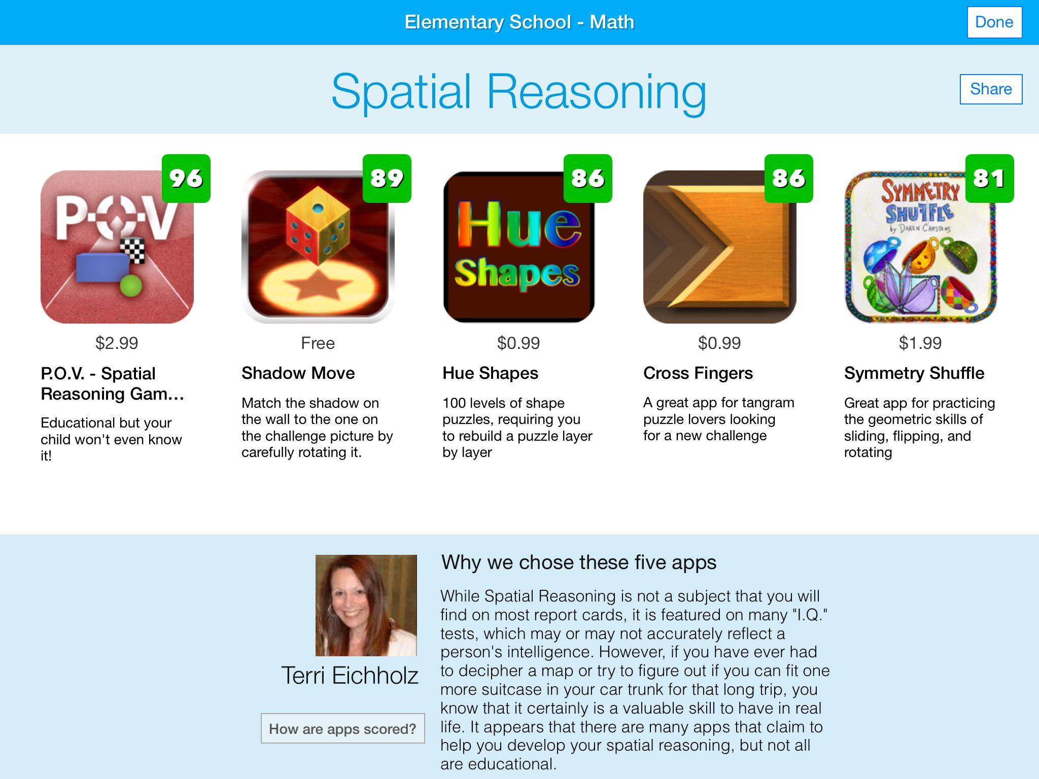 Math Spatial Reasoning Apps Elementary schools, Math, App