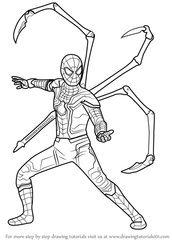 Step By Step How To Draw Iron Spider From Avengers Infinity War Drawingtutorials101 Com Superhero Coloring Pages Superhero Coloring Spiderman Coloring