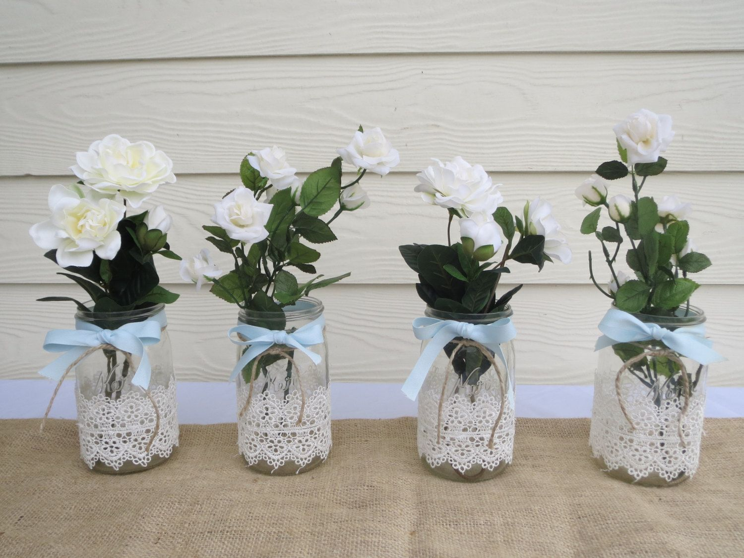 4 Lace Mason Jar Wedding Centerpieces. $36.00, via Etsy ...