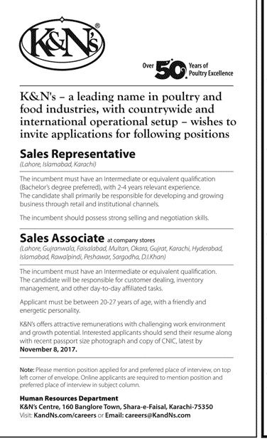 KN Pakistan Jobs  In Karachi For Sales Representatives And