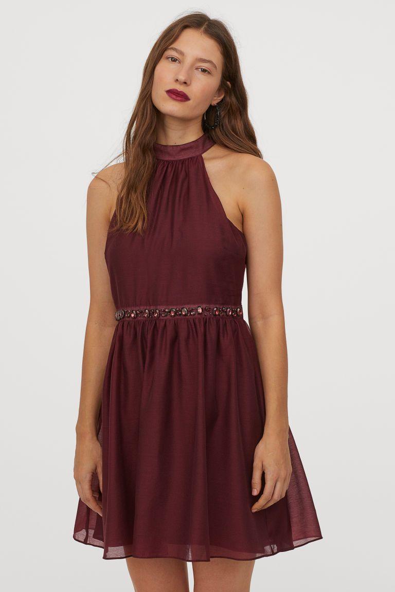 Kleid mit Strasssteinen - Dunkelrot - Ladies  H&M DE
