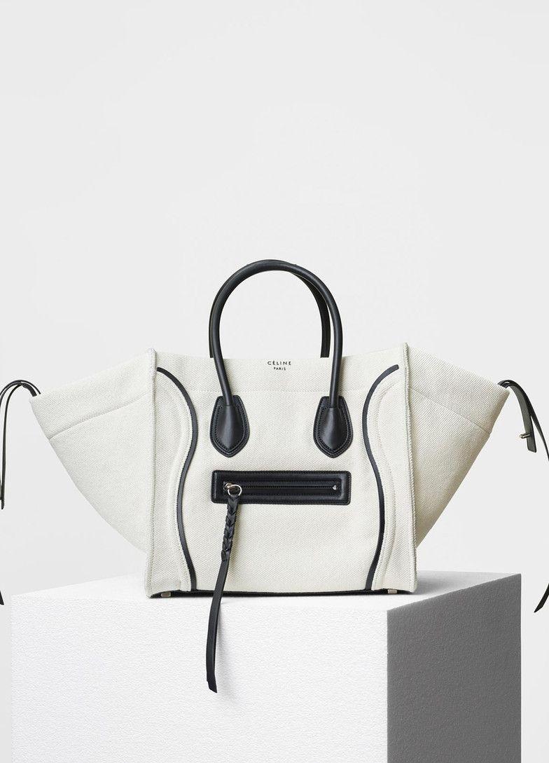 33181d3b22 Medium Luggage Phantom Handbag in Textile With Calfskin Border - Céline