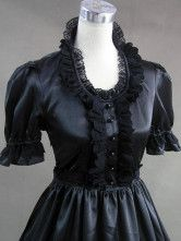 Gothic Lolita Victorian Black Lace Long Dress Floor Length