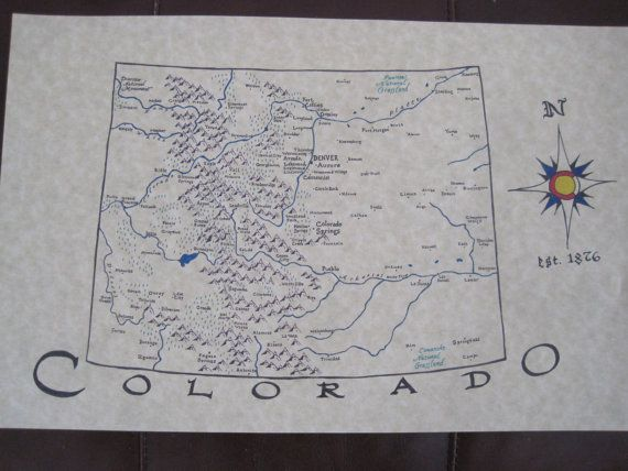 Map of Colorado  hand drawn    Gallery Wall Ideas for Art     Map of Colorado  hand drawn