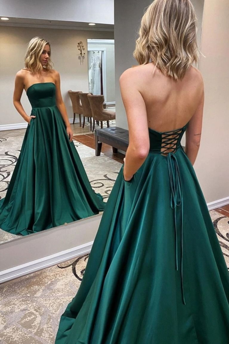 Strapless Emerald Green Long Prom Dresses Emerald Green Long Formal Evening Dresses In 2020 Green Prom Dress Simple Evening Dress Strapless Evening Dress [ 1152 x 768 Pixel ]