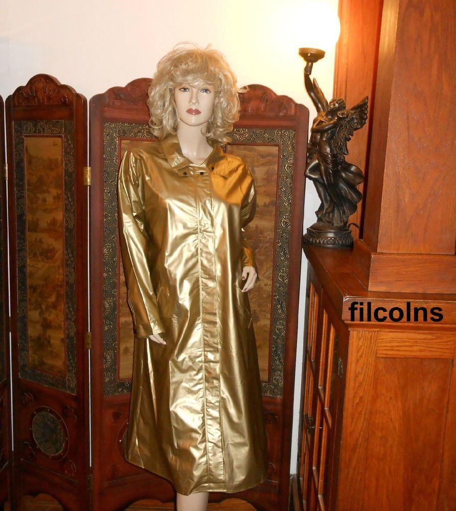 Vtg L Shiny Gold Pvc Vinyl Raincoat Slicker Betmar Long Rain Jacket Trench Coat Vinyl Raincoat Rains Long Jacket Rain Jacket