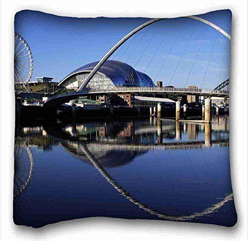 Custom Cotton Polyester Soft City Bridge Architecture Design Images Building Pillowcase Cushion Millennium Bridge Gateshead Millennium Bridge England Travel