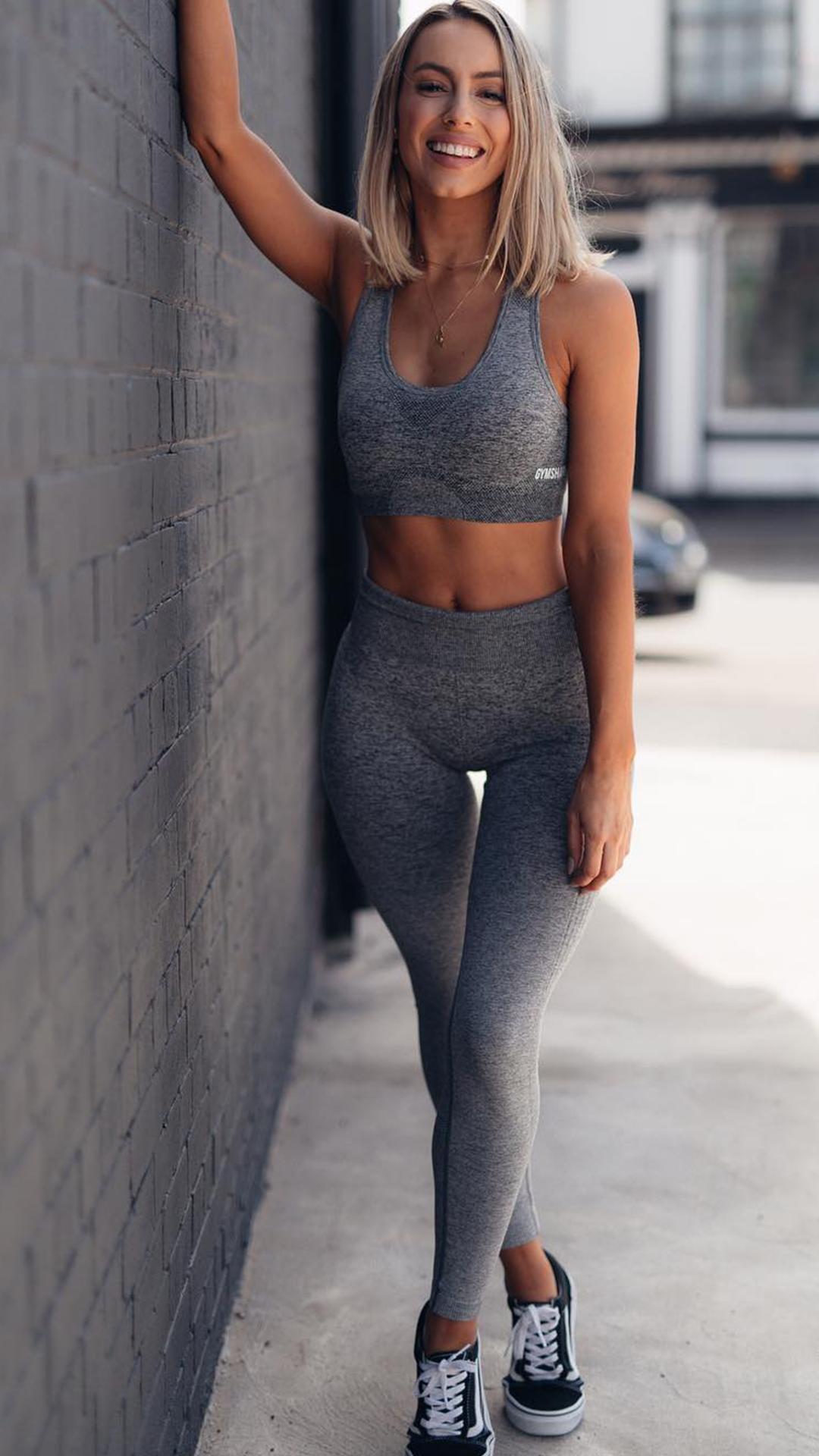 7559198b9cf3e Madalin Monochrome! Slay the day in grey like Gymshark Athlete, Madalin. # Gymshark #Gym #Womenswear #Female #Gymwear #Sportswear #Clothing #Clothes  #Sweat ...