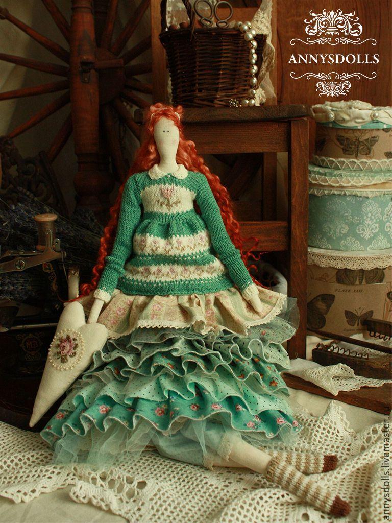 Tilda doll / Купить Беренис - тёмно-бирюзовый, бирюзовый, зеленый, весна, вязание, вышитая роза, пыльная роза