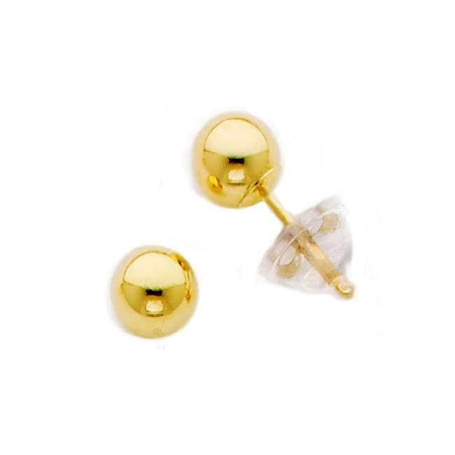 Solid 14k Yellow Gold Ball 4mm Stud Earrings w// Silicone Covered Gold Backs