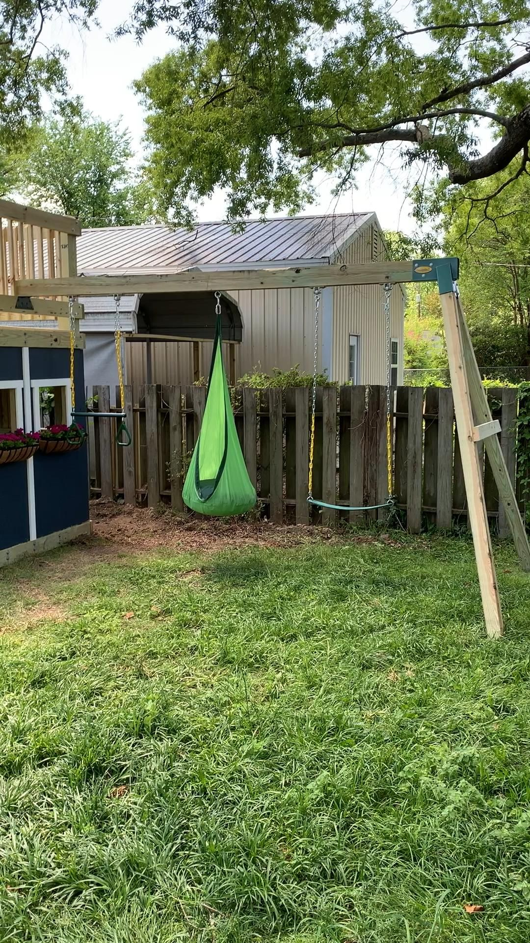 DIY Playhouse With Swing Set