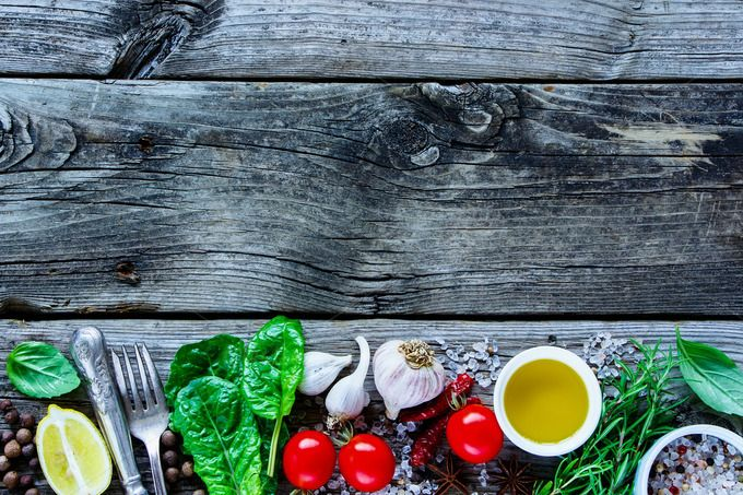 Healthy Cooking Concept Rustic Wooden Background With Raw Various