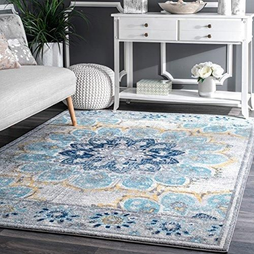 600'x60'ft Blue White Yellow Floral Colored Mandala Patterned Area Rug Enchanting Patterned Area Rugs