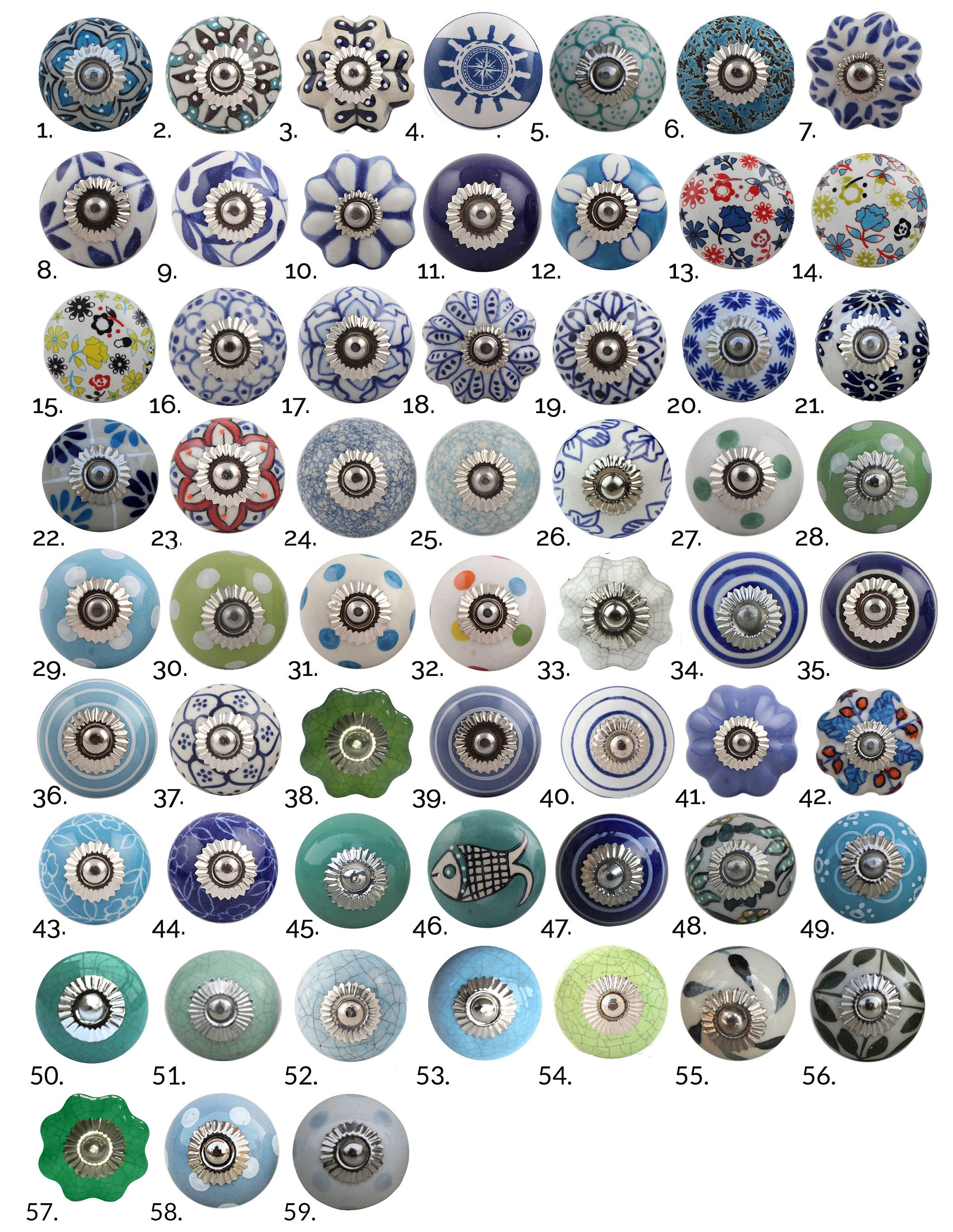 Blue Green Ceramic Cabinet Knobs | Furniture Door Knobs in Various ...