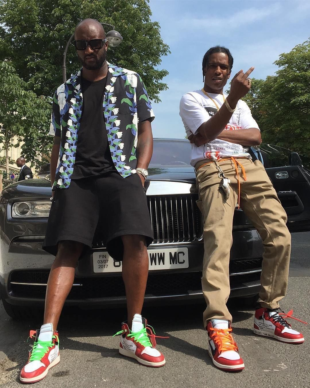 Virgil Abloh and ASAP Rocky Wear Off-White x Air Jordan 1 Sneakers in Paris