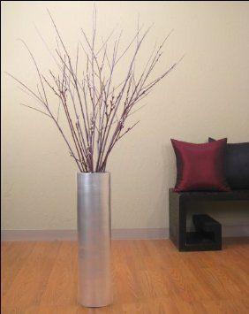 Amazoncom In Cylinder Bamboo Floor Vase SILVER Floral Not - Cylinder floor vase silver