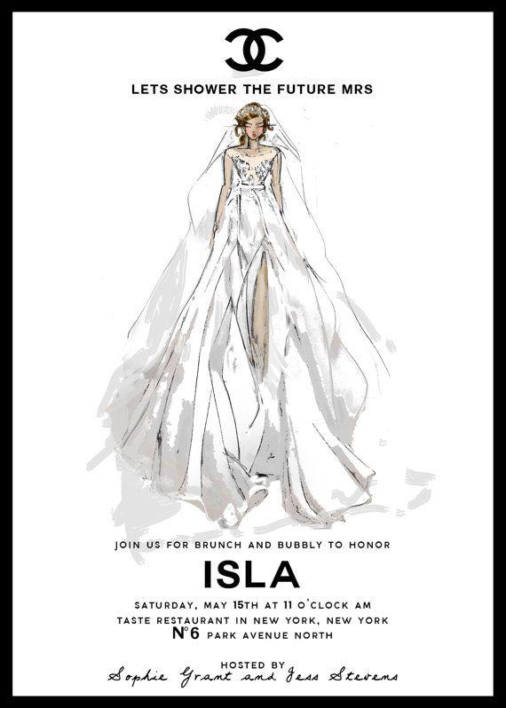 Chanel bridal shower invitation custom sketch chanel bridal gown filmwisefo