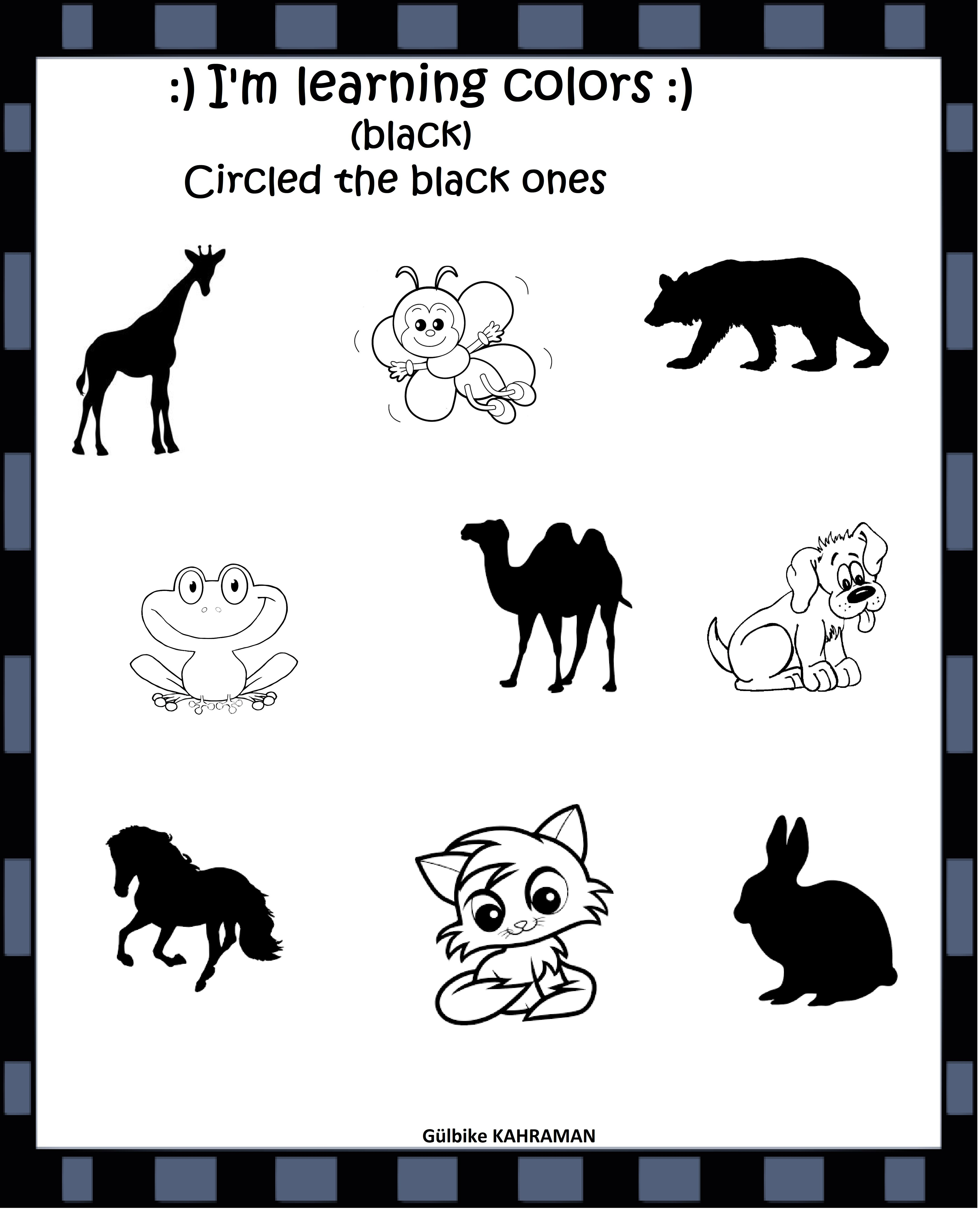 Kindergarten Worksheets Color Black