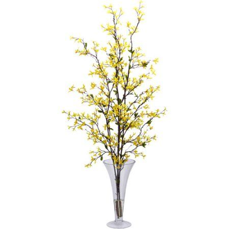 Forsythia with vase silk flower arrangement yellow silk flowers forsythia with vase silk flower arrangement yellow silk flowers walmart and products mightylinksfo