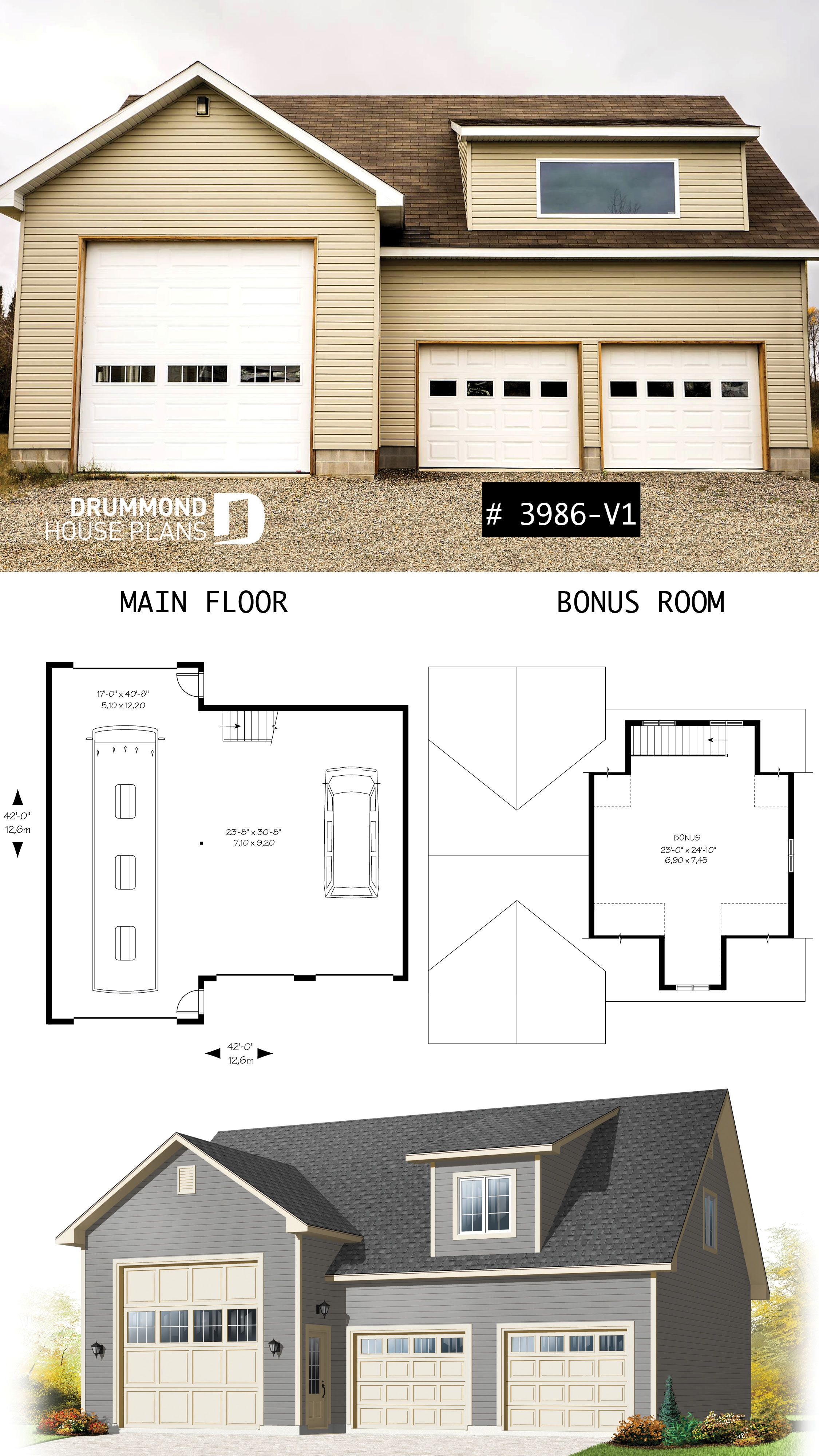 Discover The Plan 3986 V1 Cottonwood 2 Which Will Please You For Its Country Styles Rv Garage Plans Garage Plans Detached Three Car Garage Plans