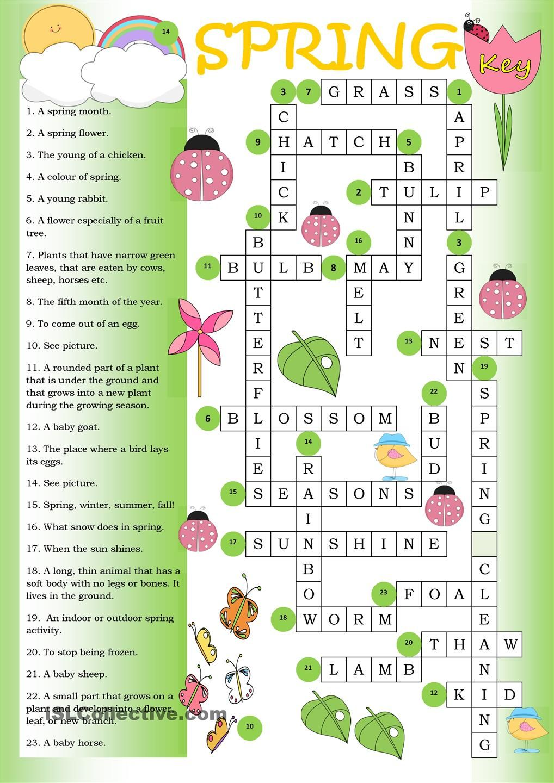 worksheet Esl Summer Worksheets crossword spring key tesol summer worksheets worksheet free esl printable made by teachers