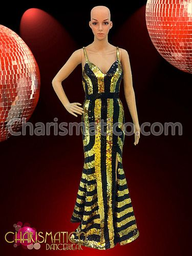 388b3a795d91 CHARISMATICO Regal Drag Queen Metallic Gold And Black Stripe Pageant ...
