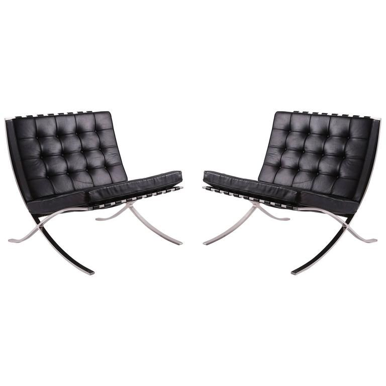Early Mies van der Rohe for Knoll Barcelona Chairs | From a unique collection of antique and modern lounge chairs at https://www.1stdibs.com/furniture/seating/lounge-chairs/