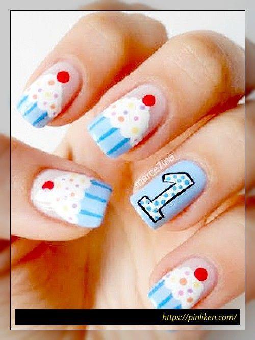 14 Super Cupcake Nail Art Designs für Mädchen    Nagelkunst  #Art #Cupcake # #koreannailart