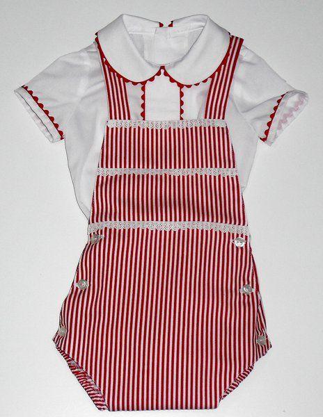 Ranita para bebe compuesta de camisa de batista blanca adornado con  piquillo rojo y ranita en pique de rayas adornada con punta de tirabordada  blanca ... 65f0fe92ba61