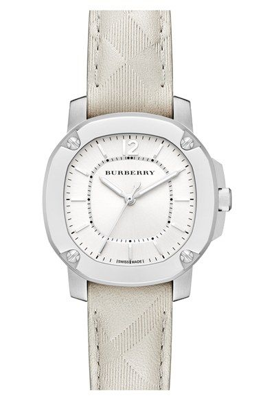 Burberry The Britain Check Stamped Leather Strap Watch, 34mm | Nordstrom