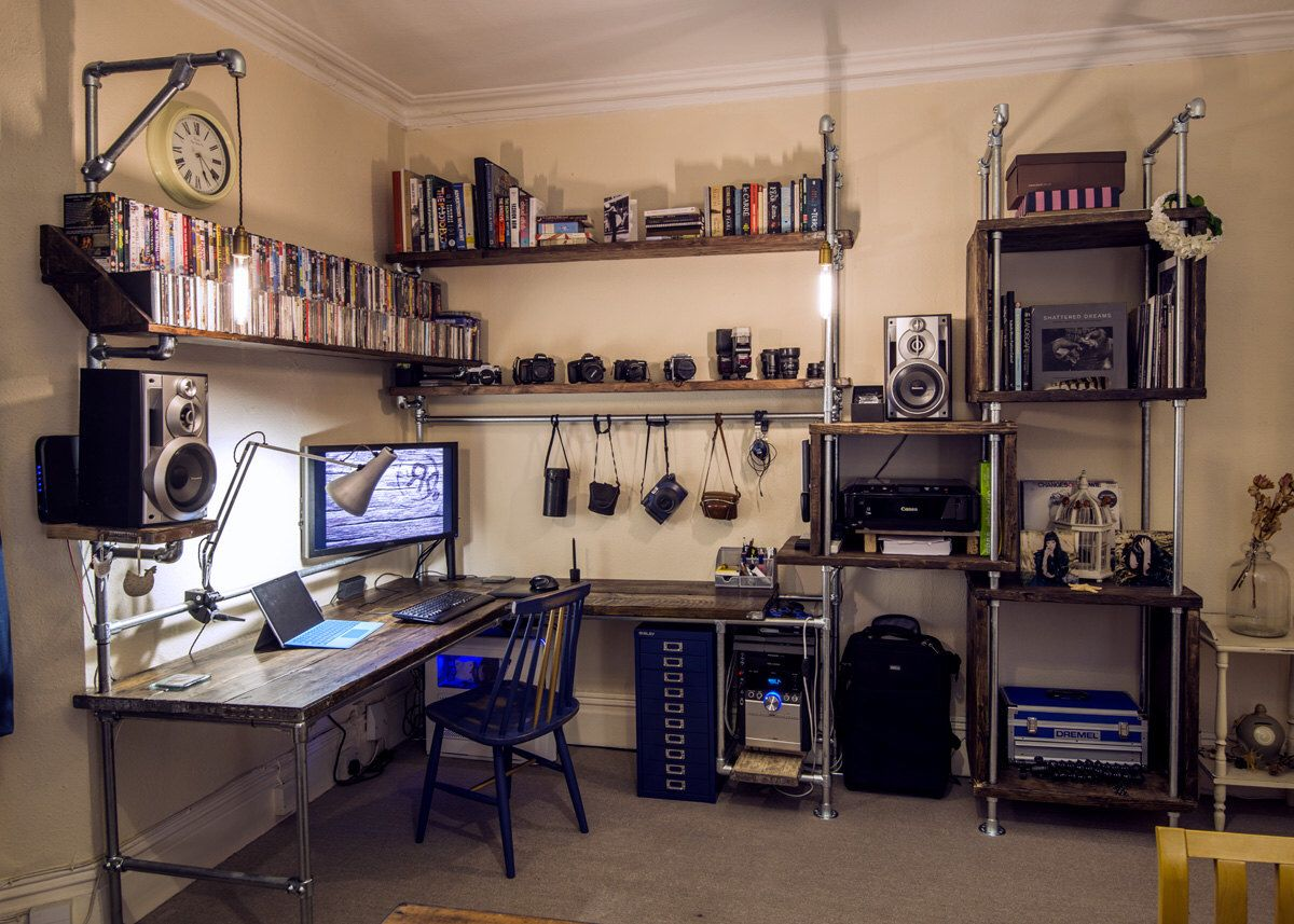 workstation lighting. Reclaimed Scaffolding And Pipe Workstation - Bespoke Desk Shelving With Wired In Lighting. By WoodRehab On Etsy Lighting