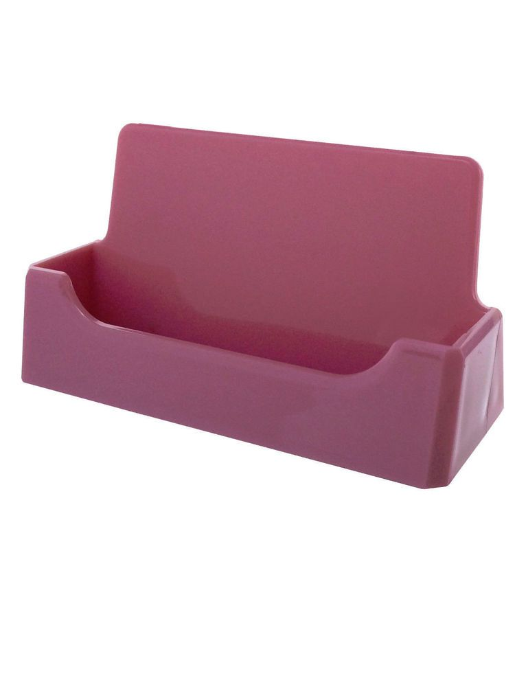 10 Business Card Holders Pink Counter Top Display Office Supplies