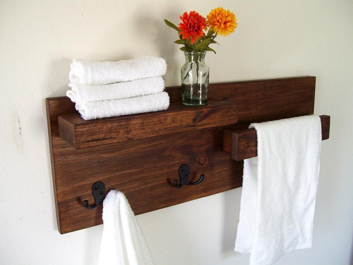 Floating Shelves With Towel Bar