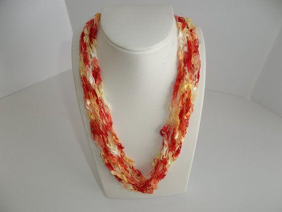 Necklace Ribbon Lace Necklace Crochet  Necklace  by DelsYarnBasket