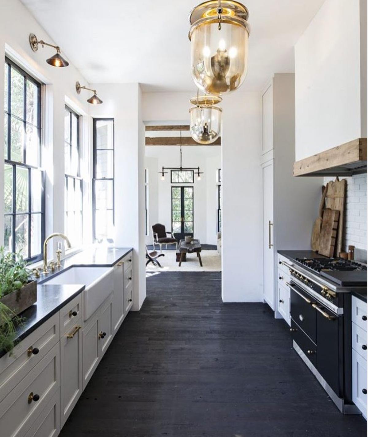 White Kitchen Cabinets With Dark Floors: Black Countertops With Dark Floors. Love!