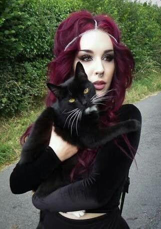 Self Cats Makeup Red Hair Purple Alternative Pink Make Up Goth Ozora Personal Posts Nazo Ozoranazo Alt Blackcats