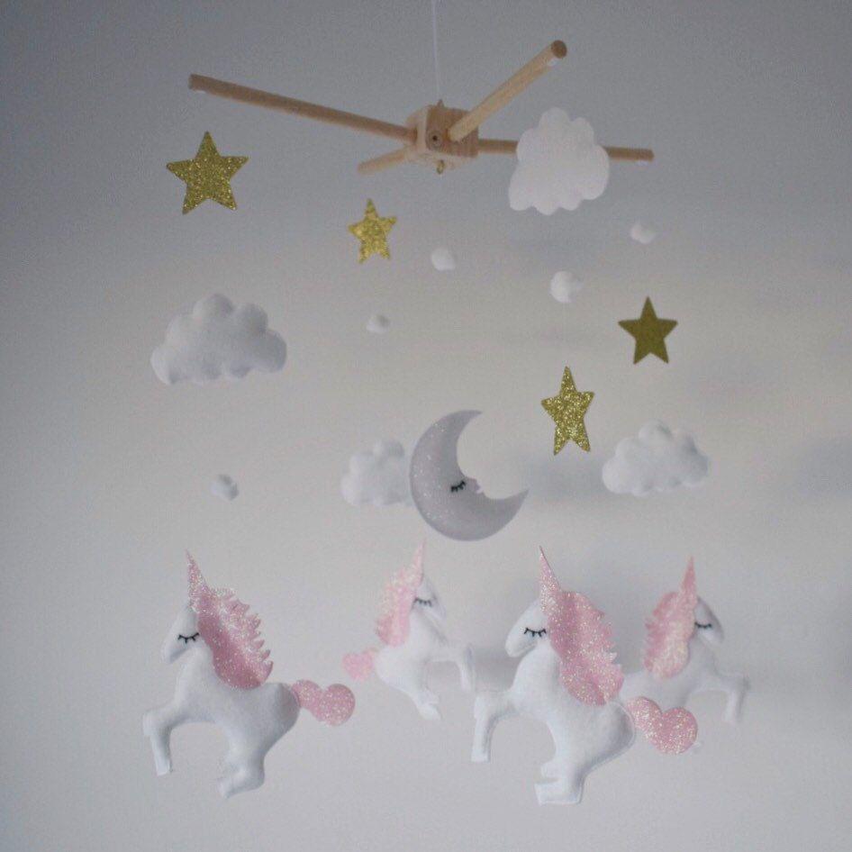 Felt unicorn glitter star moon and pompom mobile nursery - Decor mobel ...