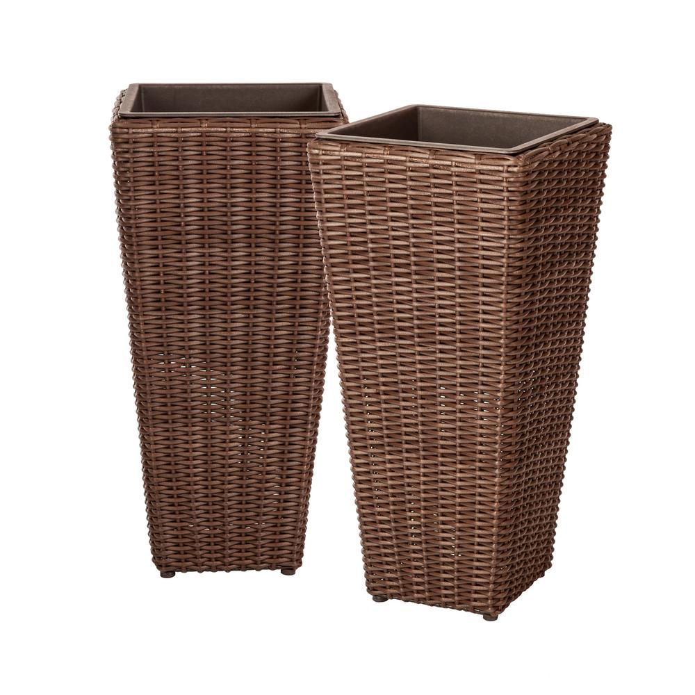 Patio Sense Alto 23 In Mocha Resin Wicker Planter 2 Piece 62501 Wicker Planter Wicker Wicker Furniture